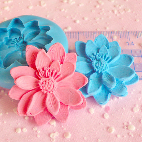 Flower Mold 39mm Cupcake Topper Flexible Mold Silicone Mold Flower Fondant Cake Decoration Mold Scrapbooking Mold Resin Epoxy Wax Mold MD600