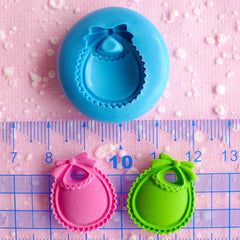 Baby Bib 22mm Flexible Mold Silicone Mold Kawaii Baby Shower Mini Cupcake Topper Mold Fimo Polymer Fondant Gumpaste Scrapbooking Mold MD543