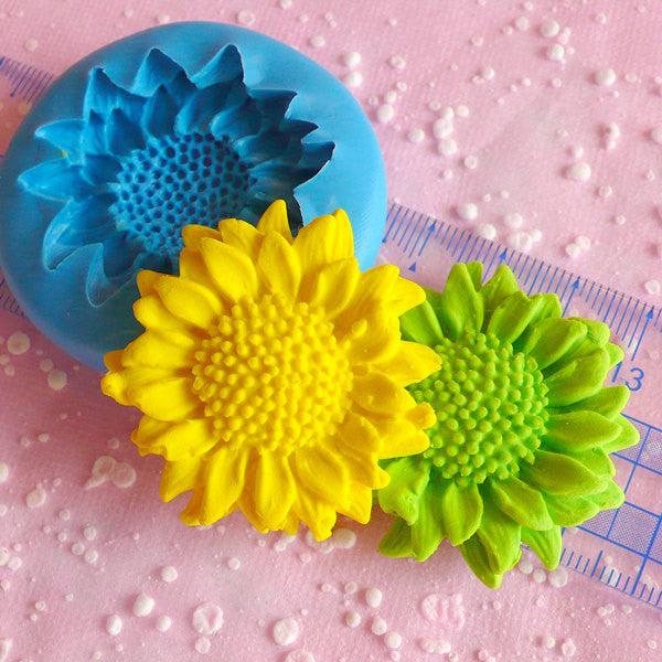 Sunflower Mold 40mm Cupcake Topper Flexible Mold Silicone Mold Flower Fondant Cake Decoration Mold Scrapbooking Resin Epoxy Wax Mold MD597