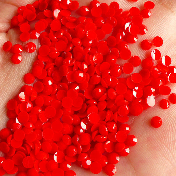 4mm Rhinestones (Pastel Red) 14 Faceted Cut Round Resin Rhinestones (150pcs) Decoden Cell Phone Deco Nail Art Fake Sweets Deco RHP412