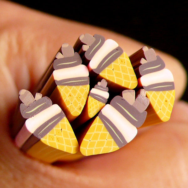 Chocolate Ice Cream Fimo Cane Miniature Sweets Polymer Clay Cane (LARGE/BIG) Kawaii Dollhouse Sweets Cane Earrings Making Scrapbooking BC66