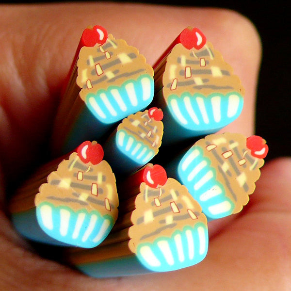 Cupcake Fimo Cane Miniature Sweets Polymer Clay Cane (LARGE/BIG) Kawaii Dollhouse Sweets Cane Earrings Making Scrapbooking Decoration BC58