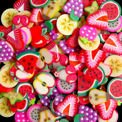 Fimo Fruit Polymer Clay Cane Slices Mix (BIG / LARGE) Mini Sweets Decoden Kawaii Fruit Tart Fimo Cane Nail Art (100pcs by Random) CMX038