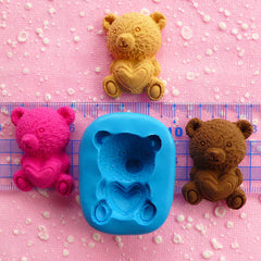 Bear Mold w/ Heart 35mm Silicone Mold Flexible Mold Chocolate Mold Polymer Clay Scrapbooking Fondant Cupcake Topper Kawaii Animal Mold MD454