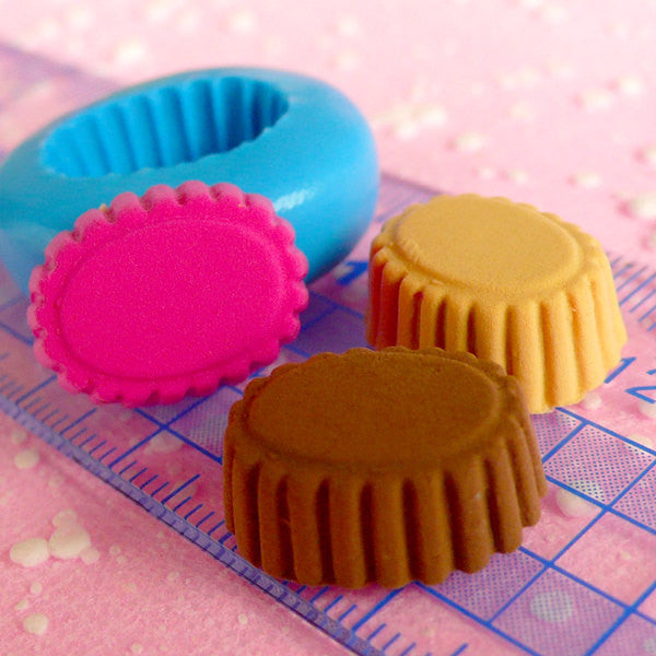 Oval Chocolate Mold Tart Bottom Mold 17mm Flexible Silicone Mold Decoden Charms Kawaii Miniature Sweets Cabochon Cell Phone Deco Mold MD370