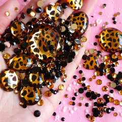 Leopard Print Rhinestones Mix (3mm, 5mm, 12mm to 29mm) Black, Yellow, Leopard Round and Other Shaped Acrylic Rhinestones Set (600pcs) RHM015