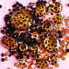Leopard Print Rhinestones Mix (3mm, 5mm, 12mm to 29mm) Black, Yellow, Leopard Round and Other Shaped Acrylic Rhinestones Set (600pcs) RHM015 - MiniatureSweet - 1