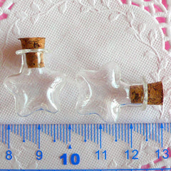Star Glass Bottles / Glass Mini Jars with Corks (25mm x 20mm / 2 pcs) Kawaii Glass Vial Charm Making Whimsical Glass Vile Pendant DIY MC14