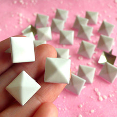 Rivet / WHITE Metal Pyramid Rivet Studs / Square Rivet 12mm (around 50pcs) for Cell Phone Deco / Leather Craft / Jean Button, etc RT15