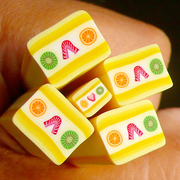 Mango Fruit Cake Fimo Cane Miniature Sweets Polymer Clay Cane (Large / Big) Kawaii Dollhouse Sweets Cane Scrapbooking BC60