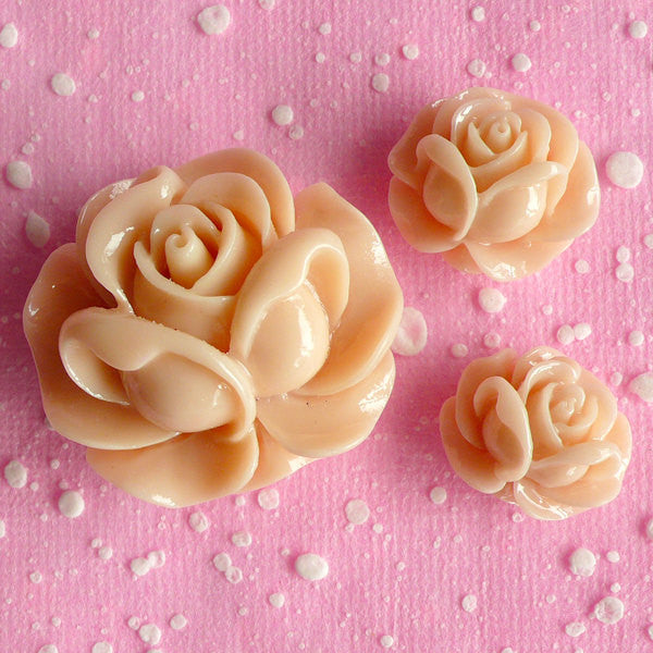 Resin Rose Cabochon Set / Assorted Flower Cabochon (3pcs / 19mm, 21mm & 31mm / Cream / Flat Back) Spring Floral Decoration Scrapbook CAB070