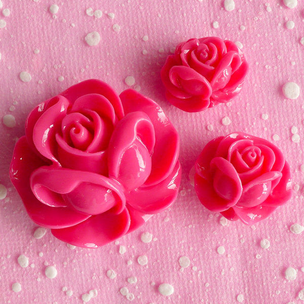 Rose Flower Cabochon Assorted Resin Floral Cabochon Mix (3pcs / 19mm, 21mm & 31mm / Dark Pink / Flatback) Decoden Flower Scrapbooking CAB068