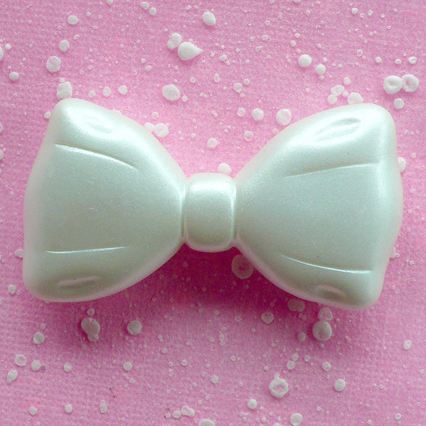 Resin Bow Cabochon Large Bowtie Cabochon (53mm x 29mm / White) Big Decoden Cabochon Cute Embellishment Kawaii Craft Bow Tie Decor CAB036