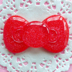 Decoden Piece Resin Bow Cabochon Large Glitter Bowtie Cabochon (60mm x 35mm / Red / Flat Back) Kawaii Phone Case Cute Embellishment CAB045