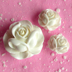 Resin Flower Rose Cabochon Assortment Mix (3pcs / 19mm, 21mm & 31mm / White / Flatback) Floral Embellishment Wedding Flower Decor CAB071