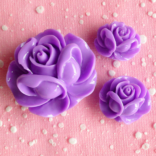 CLEARANCE Flower Rose Cabochon Assortment Set (3pcs / 19mm, 21mm & 31mm / Purple / Flat Back) Cellphone Deco Lavender Rose Valentines Day Decor CAB072