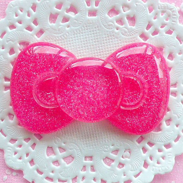 Cute Bowtie Cabochon Big Glitter Bow Tie Cabochon (60mm x 35mm / Dark Pink / Flatback) Decoden Cabochon Kawaii Supplies Sweet Lolita CAB044