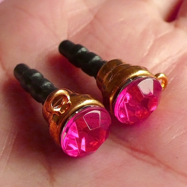 Cellphone Dust Plug / Earphone Jack Plug / Ear Phone Dust Plug / Smartphone Charm Plug w/ Rhinestone (w/ Hole / 2pcs / Dark Pink, Gold) EJ19