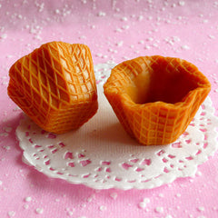 Fake Waffle Cups Kawaii Faux Miniature Sweets Cabochon Charms Making Decoden Sweets Deco Dollhouse Ice Cream (2 pcs / 40mm x 25mm) MC12