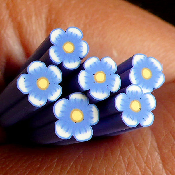 Blue Flower Polymer Clay Cane Nail Art Deco Scrapbooking Kawaii Mini Fimo Flower Cane Decoden Cane CFW047