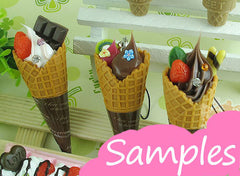 Waffle Cones Kawaii Fake Miniature Sweets Cabochon Charms Making Decoden Sweets Deco DIY Cellphone Deco (2 pcs) MC11