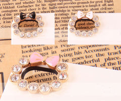 Rhinestone Wreath with Bow Cabochon for iPhone 4 Case (2pcs / Pink & White) Bling Bling Camera Hole Decoration Kawaii Cell Phone Deco CAB096