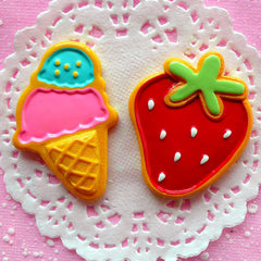 CLEARANCE Sugar Cookie Cabochon Ice Cream Cabochon Strawberry Cabochon (2pcs / 45mm & 49mm / Flatback) Kawaii Phone Case Decoden Embellishment FCAB033