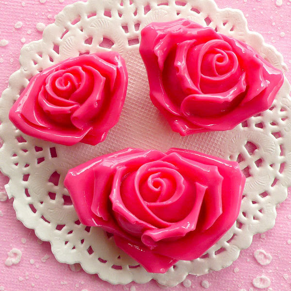 Rose Cabochon Assortment / Flower Resin Cabochon Mix (3pcs / 35mm, 40mm & 49mm / Dark Pink / Flat Back) Floral Decoden Valentines Day CAB074