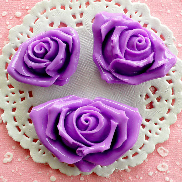 Purple Rose Cabochon Set / Assorted Resin Flower Cabochon (3pcs / 35mm, 40mm & 49mm / Flatback) Floral Jewelry Romantic Embellishment CAB075