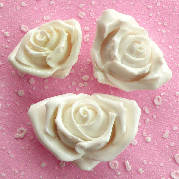 White Rose Cabochon Mix / Assorted Floral Cabochon Set (3pcs / 35mm, 40mm & 49mm / Flat Back) Flower Jewellery Wedding Decoration CAB073