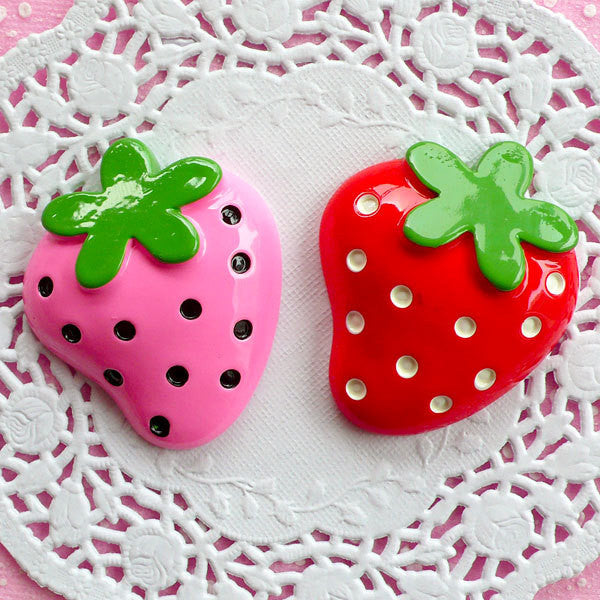 Decoden Strawberry Cabochons Fruit Applique (2pcs / Pink & Red / 39mm x 47mm / Flat Back) Kawaii Supplies Scrapbooking Embellishment FCAB044