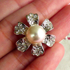 Bling Bling Flower Metal Cabochon / Silver Floral Cabochon with Pearl (24mm) Wedding Decoration Sparkle Hair Bow Center DIY Earrings CAB089