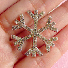 CLEARANCE Rhinestone Snowflake Cabochon / Bling Bling Metal Cabochon (Silver / 27mm / Flatback) Christmas Embellishment Winter Scrapbooking CAB091
