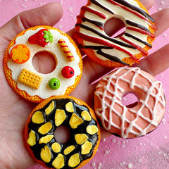 Donut Cabochon Set / Jumbo Doughnut Cabochon Mix (4pcs / Assorted / Flat Back) Scrapbooking Sweets Embellishment Novelty Decor FCAB040-43