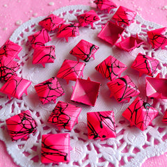 Rivet / DARK Pink with BLACK Paint Metal Pyramid Rivet Studs Square Rivet 12mm (around 50pcs) Cell Phone Deco Leather Craft Jean Button RT12