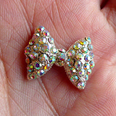 Bow / Bowtie with AB Clear Rhinestones (18mm) Bling Bling Cell Phone Deco Scrapbooking Wedding Jewelry Making Earring Making (Metal) NAC029