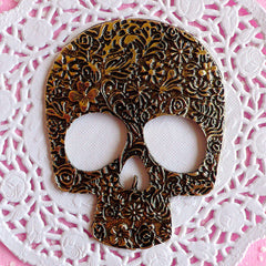 Large Sugar Skull Cabochon / Big Alloy Metal Cabochon (59mm x 75mm / Antique Bronze) Calavera Day of the Dead Halloween Decoration CAB085
