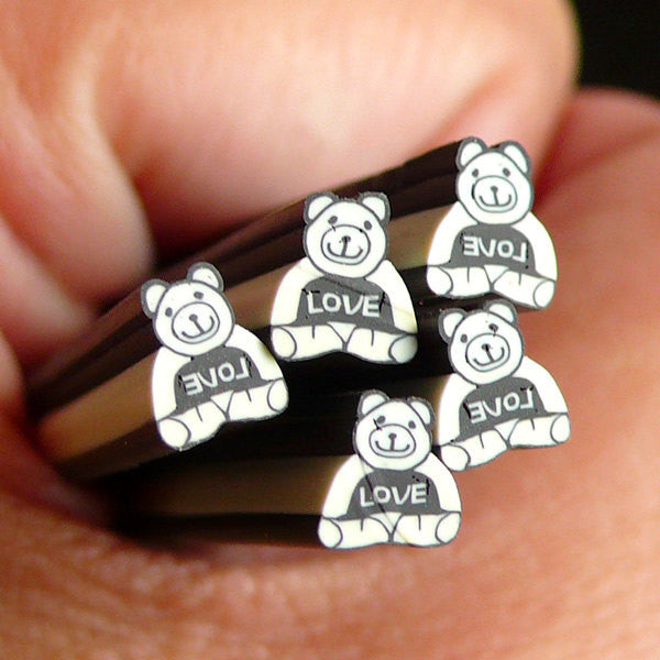 Bear with Love Polymer Clay Cane Animal Fimo Cane Kawaii Nail Art Nail Deco Nail Decoration Scrapbooking Earrings Making CAN041