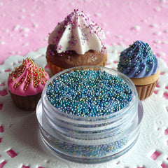 Microbeads Fake Miniature Toppings Faux Sugar Sprinkles (Oceanic Blue Green Mix / 7g) Dollhouse Food Jewellery Cute Polymer Clay Craft SPK04