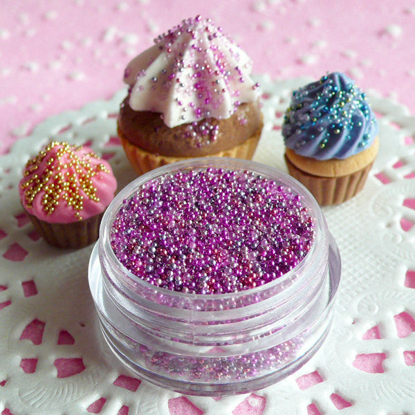 Caviar Beads Fake Cupcake Toppings Faux Sprinkles (Pink Purple Princess Mix / 7g) Miniature Sweets Nail Art Beads Resin Craft Decoden SPK03