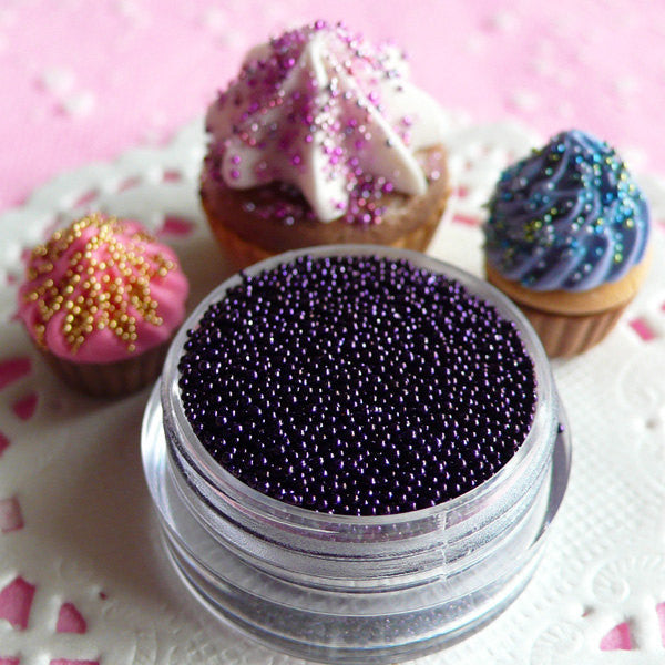 Miniature Caviar Beads Dollhouse Sugar Candy Sprinkles Faux Pearlised Dragees Toppings (Dark Purple / 7g) Fake Food Craft Nailart Deco SPK17
