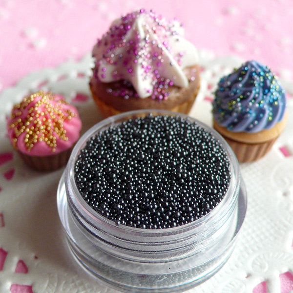 Microbeads Nail Art Manicure Caviar Beads Miniature Candy Sprinkles Fake Sugar Pearls Balls Dragees (Gray Grey / 7g) Dollhouse Sweets SPK19