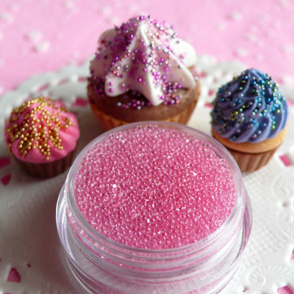 Kawaii Cupcake Sprinkles Fake Sugar Toppings Faux Candy Beads Sprinkles (Clear Light Pink / 7g) Miniature Sweets Deco Nail Decoration SPK11