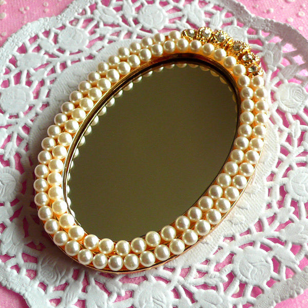 Big Mirror Cabochon with Pearl & Rhinestones in Luxury Style / Miniature Mirror (Oval / 56mm x 81mm) Doll House Mirror Cute Decoden CAB098