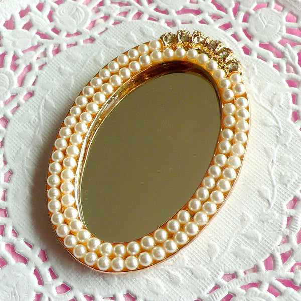 Pearl Mirror Cabochon w/ Rhinestones (Oval / 43mm x 63mm) Sweet Lolita Kawaii Decoden Deluxe Dollhouse Decoration Bling Bling Deco CAB099