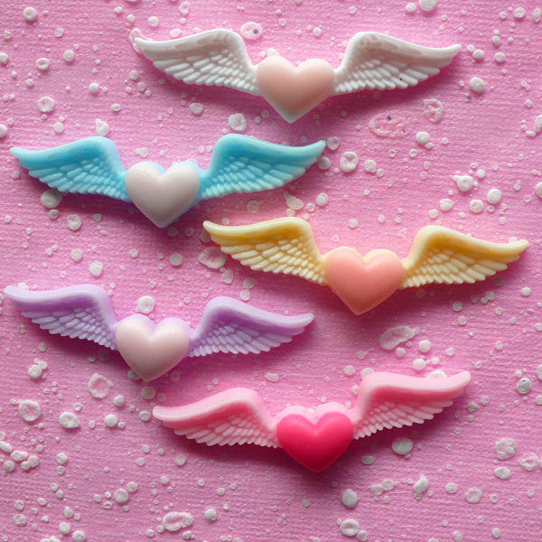 Angel Wings with Heart Cabochon Mix / Winged Heart Cabochon (5pcs / 54mm x 15mm / Assorted Pastel Color / Flat Back) Kawaii Decoden CAB079