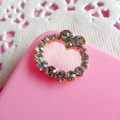 iPhone 4 Camera Lens Hole Decoration / Rhinestones Wreath with Heart Metal Cabochon (2pcs) Cute Bling Bling iPhone 4 Case Decoration CAB094