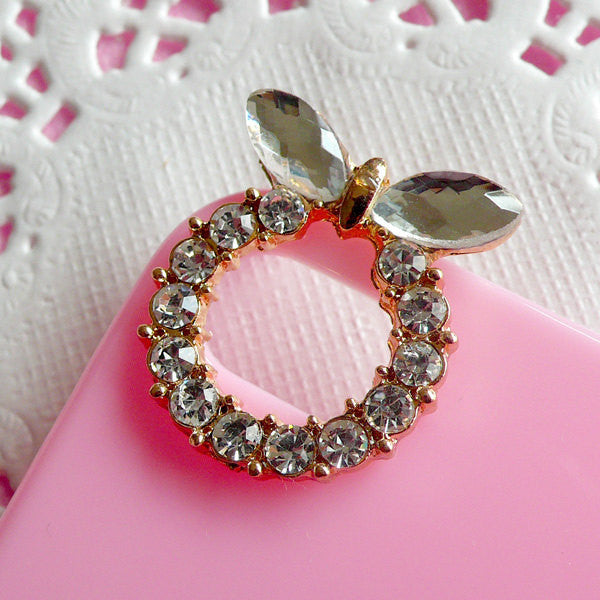 Camera Hole Decoration for iPhone 4 Case / Bling Bling Wreath with Clear Rhinestones and Ribbon (1 piece) Kawaii Sweet Lolita Decoden CAB095
