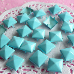 Rivet / LIGHT BLUE Metal Pyramid Rivet Studs / Square Rivet 12mm (around 50pcs) for Cell Phone Deco / Leather Craft / Jean Button, etc RT14