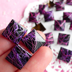 Rivet / BLACK with Pink n Purple Paint Metal Pyramid Rivet Studs / Square Rivet 12mm (around 50pcs) Cell Phone Deco Leather Jean Button RT11